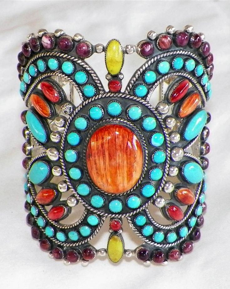Cuff   James Harrison (Navajo). Sterling silver, turquoise, spiny oyster shell and gaspeite.    www.ebay.com/...