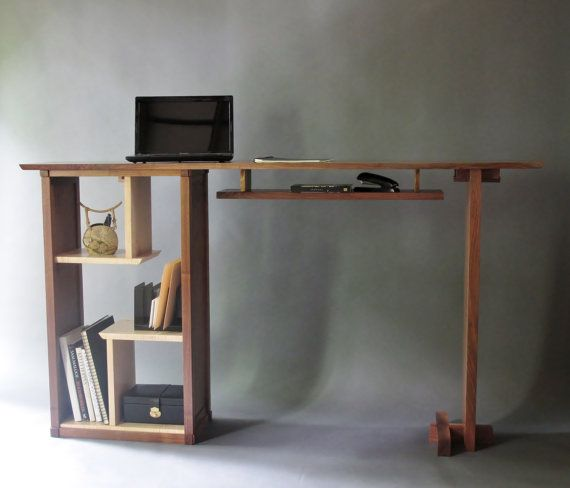 Stand up desk in walnut modern home office custom wood furniture home home office and desks - Stand up office desk ...