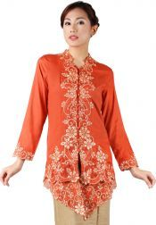 TRE Batik  TRE Batik Kebaya Batik Katun Orange