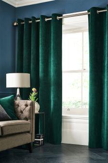 Soft Velour Eyelet Curtains (722721) | £65 - £145