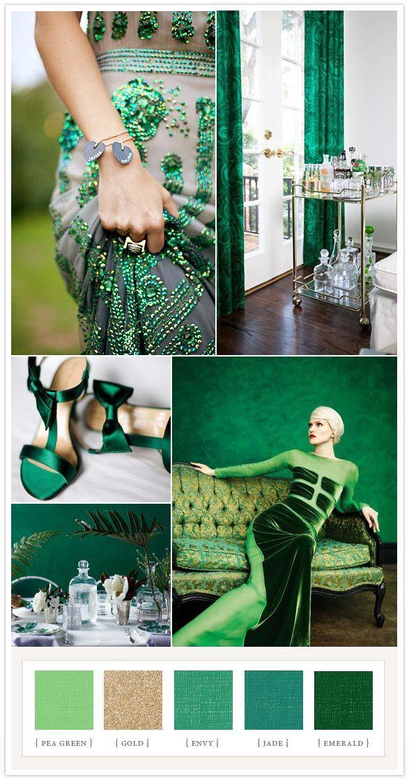 Emerald colorboard via @100 Layer Cake #emerald #coloroftheyear. Few hues of green.