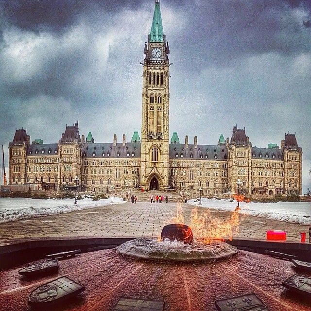 Beautiful artistic shot of the Centennial Flame on Parliament Hill. For more information on Ottawa visit www.ottawatourism.ca