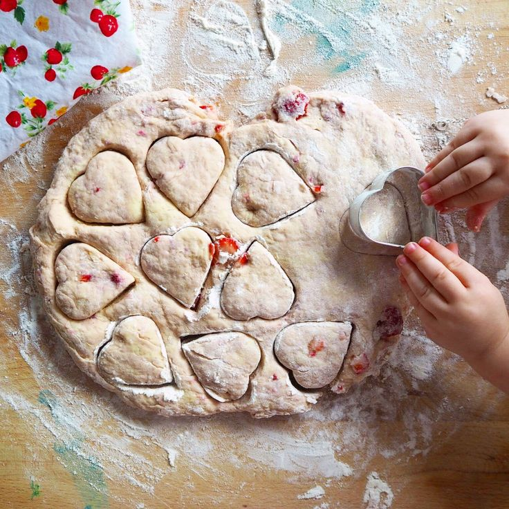 strawberry heart scones