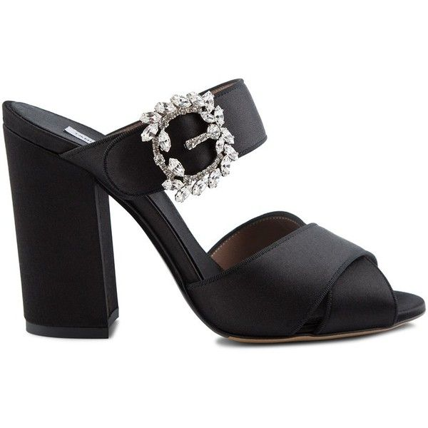 Tabitha Simmons ´Reyner´ Embellished Sandal ($665) ❤ liked on Polyvore featuring shoes, sandals, high heeled footwear, embellished sandals, high heel mules, buckle sandals and embellished shoes