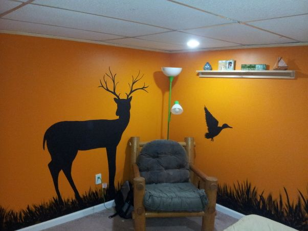 Sons Hunting Theme bedroom, Basement bedroom for a 15 year old boy.  Had a moisture issue, so after ripping out the walls to the bare block, I added a walk-in closet, tile landing (not finished yet) pine siding, and my wife put her artistic talents to work., log chair decor   , Bedrooms Design