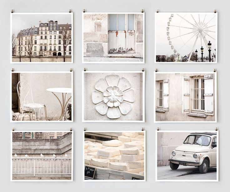 Paris Photography Collection, White Wall Art - French Art Prints, Large Wall Art, White Decor, Monochromatic. $145.00, via Etsy.