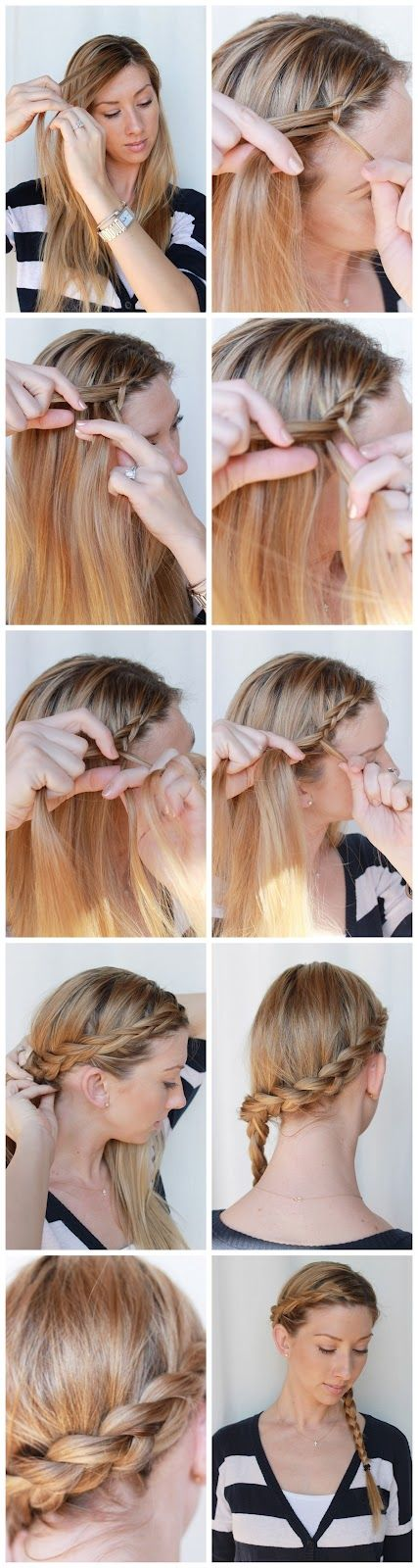 How to: Wrap around side braid: At The Beaches, Braids Hairstyles, Hair Tutorials, Long Hair, Katniss Braids, Hair Style, Side Braids, Twists Braids, Things Beautiful