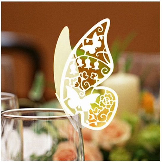 Laser Cut Ivory Butterfly Place Cards - so lovely :) They can *hand-write* each name.