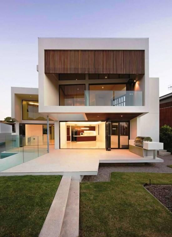 Minimalist House // Geometric Facade And Modern Exterior Patio At The  Elysium 154 House In Noosa, Queensland, Australia By BVN Architecture