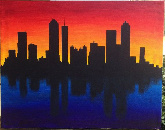 Skyline Silhouette at Sunset Acrylic Canvas Painting by ByMEA:
