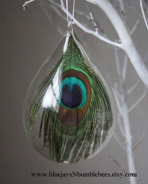 Hand Blown Glass Peacock Ornament by bluejaysnbumblebees on Etsy