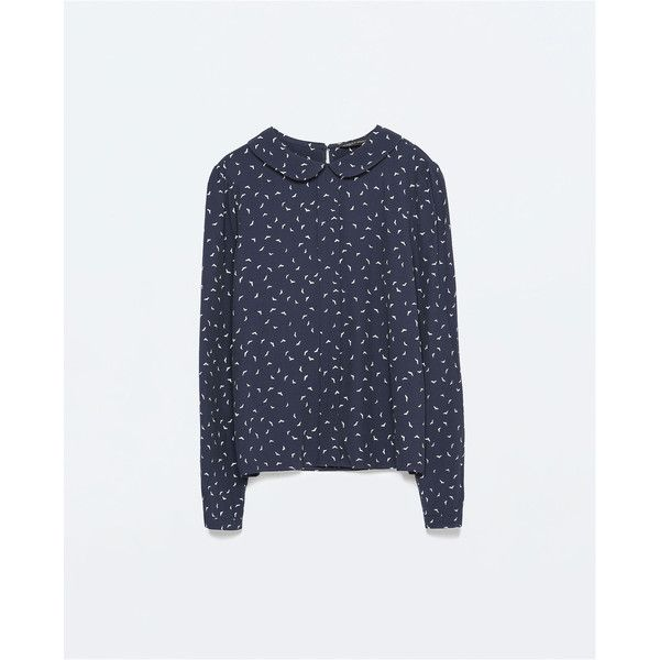 Zara Printed Peter Pan Collar Top (710 EGP) ❤ liked on Polyvore featuring tops, shirts, navy blue, zara shirts, zara tops, peter pan top, shirt top and navy blue top