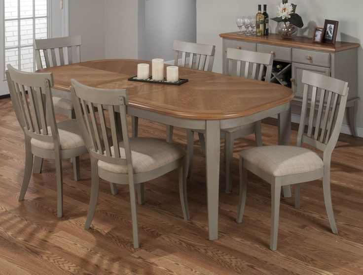 Jofran Pottersville Antique Grey 7 Piece Oval Dining Room Set W/ Butterfly  Leaf In Grey, Light Wood