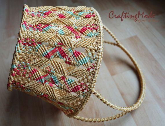 Basket ,Medium size, Macrame, shape,Handmade in Colors Birch/Fushia/Light Green,Rope, Storage,Gift basket,Living room,Kitchen,Outdoor