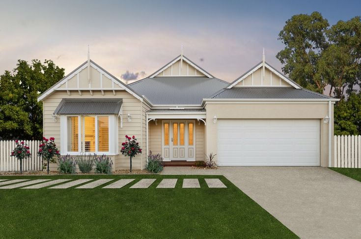 Premier Builders Group - The Cloverlea Single Storey Cottage (Weatherboard look) Facade