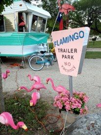Vintage camper with flamingos