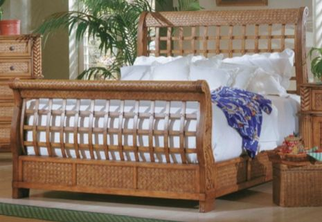 Palm Court Tropical Pine Wood MDF Rattan Queen Sleigh Bed