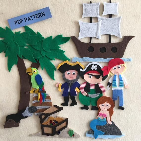 Pirate Adventure Felt Pattern To Use On A Felt Board Includes Pirate Ship Mermaid 3 Pirates And A Parrot Pdf Pattern Only In 2020 With Images Felt Quiet Books Felt Board Felt Pattern