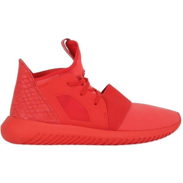 ADIDAS ORIGINALS Tubular Defiant Neoprene Sneakers ($110) ❤ liked on Polyvore featuring shoes, sneakers, red, neoprene shoes, red shoes, adidas originals trainers, red trainer and rubber sole shoes