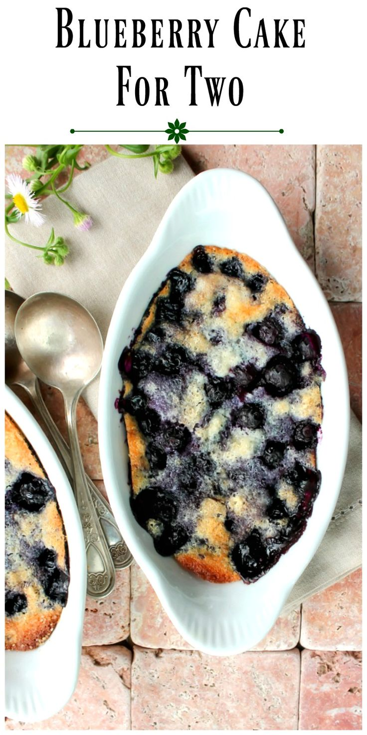 Blueberry Cake for Two -You're going to love this recipe for 2 reasons,it can be made in literally minutes and the flavor for such a fast dessert is amazing via @https://www.pinterest.com/BunnysWarmOven/bunnys-warm-oven/
