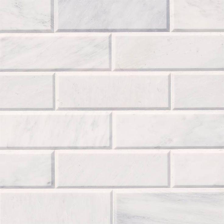 Carrara White Subway Tile Polished Beveled 4x12 Subway