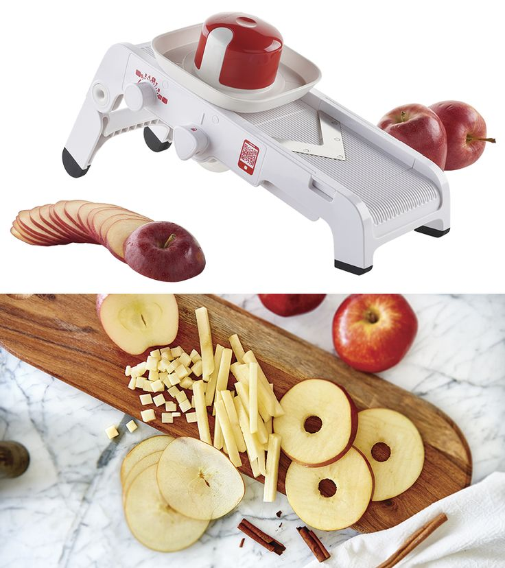 Mandoline. This handy, high-grade kitchen tool quickly and easily cuts fruits and vegetables into eight different shapes. Make super-fast salads and slaws, plentiful potato dishes and so much more.