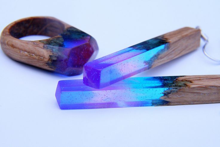 """Natural Wooden and Epoxy Resin Set """"The Universe"""". Christmas gift, Original Jewelry, Wooden Ring, Wood Earrings, Blue Purple Jewelry, by NellyRomanova on Etsy"""