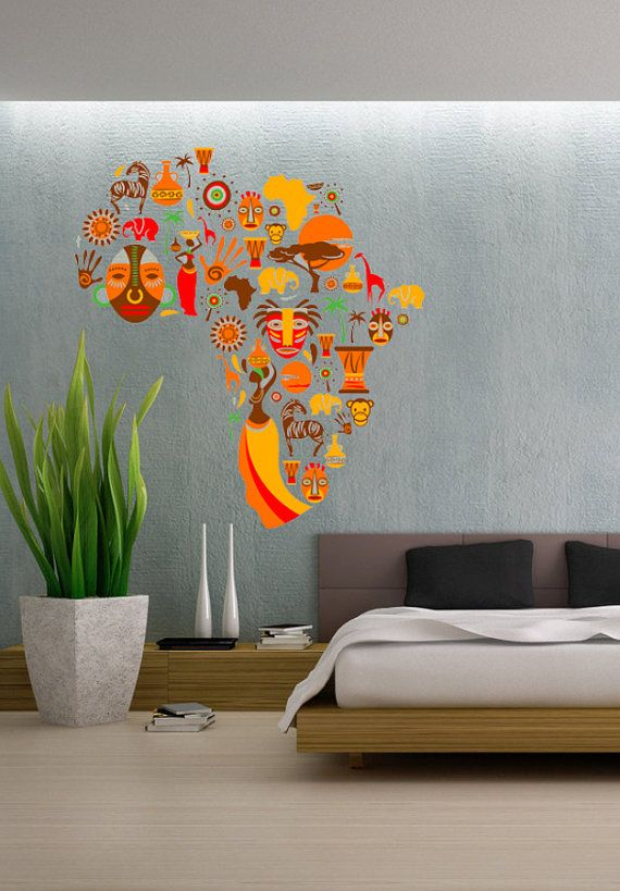 african cultural design culture africa continent full color wall decal vinyl decor art sticker. Black Bedroom Furniture Sets. Home Design Ideas