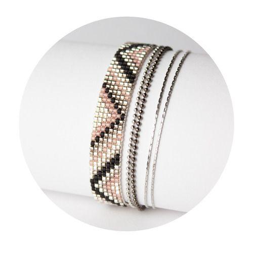 Bracelet Multirangs Mala , Manchette tissée en perles Miyuki - bead woven bracelet with Japan beads.