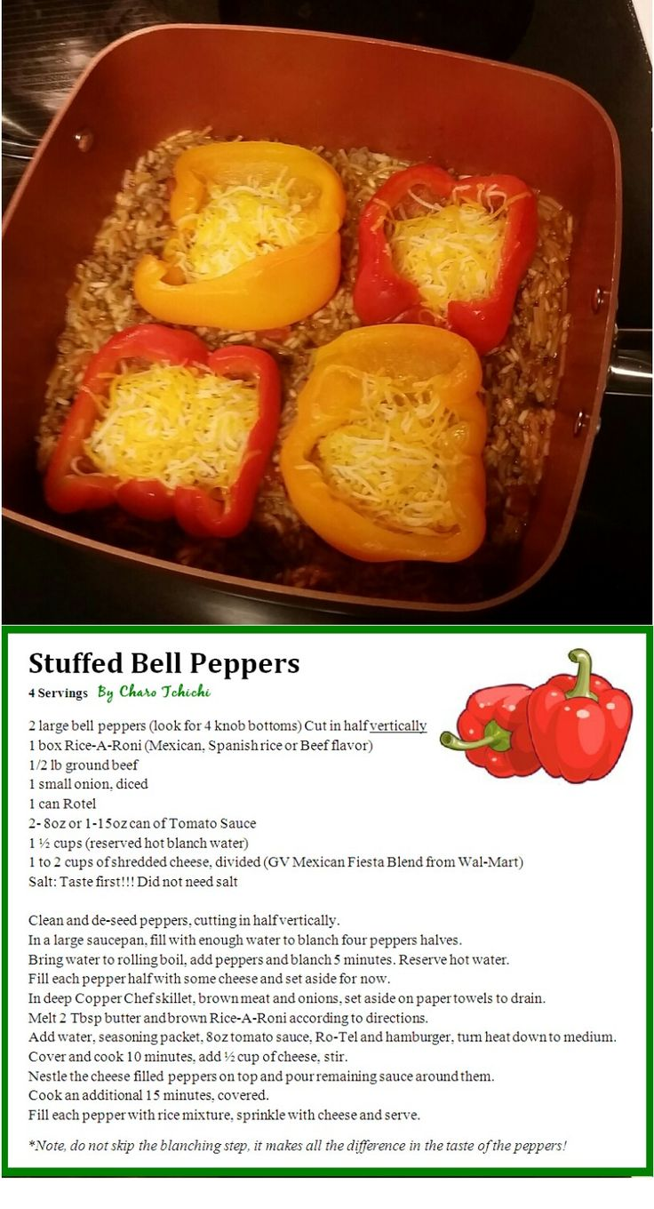 Stuffed Bell Peppers~ Easy, delicious, one pan recipe using Rice-a-Roni and Rotel in the Copper Chef Cookware ~ by CharoTchichi