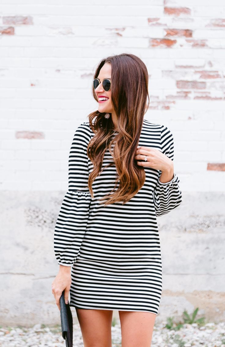 Classic black & white striped dress with red lace up sandals & red lips // A Lo Profile