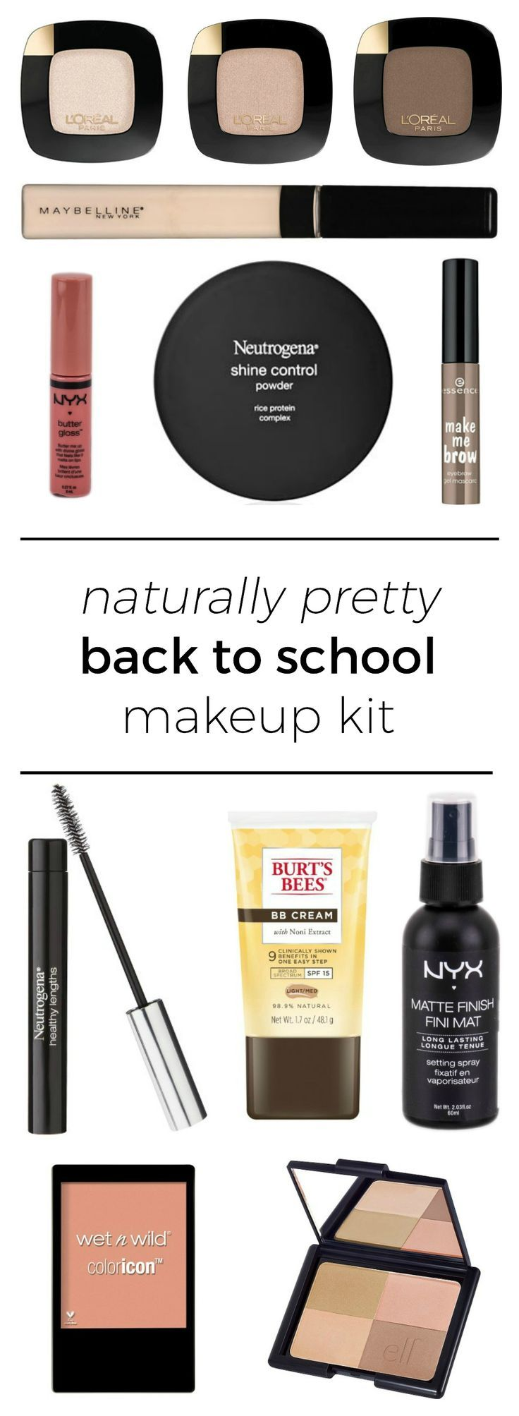 The perfect back to school makeup kit featuring affordable drugstore makeup + the best makeup brushes under $10   by beauty blogger Ashley Brooke Nicholas