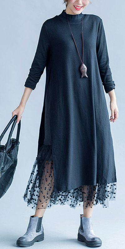 Baggy lose Frühling schwarz lässig Spitze Patchwork Kleid plus Größe schlank O Neck Maxi-Kleid