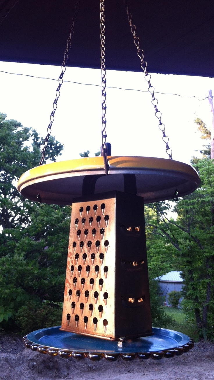 Bird Feeder Repurposed From Pot Lids And An Old Cheese