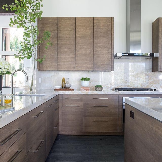 Make The Kitchen Backsplash More Beautiful: Beautiful Walnut Stained Flat Front Cabinets Marble