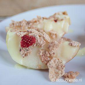 Smullen! Appeltjes met vanilleyoghurt glazuur en crunchy cruesli!