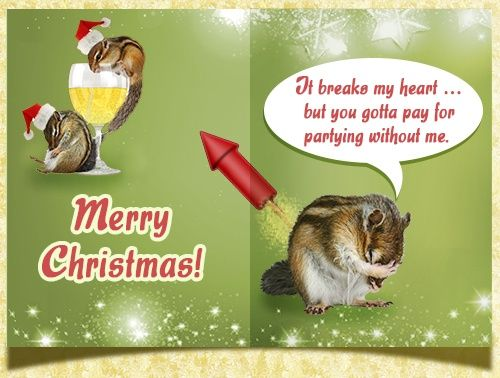 Funny Christmas card with chipmunks