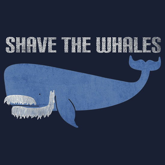 'Shave the Whales' t-shirt on redbubble