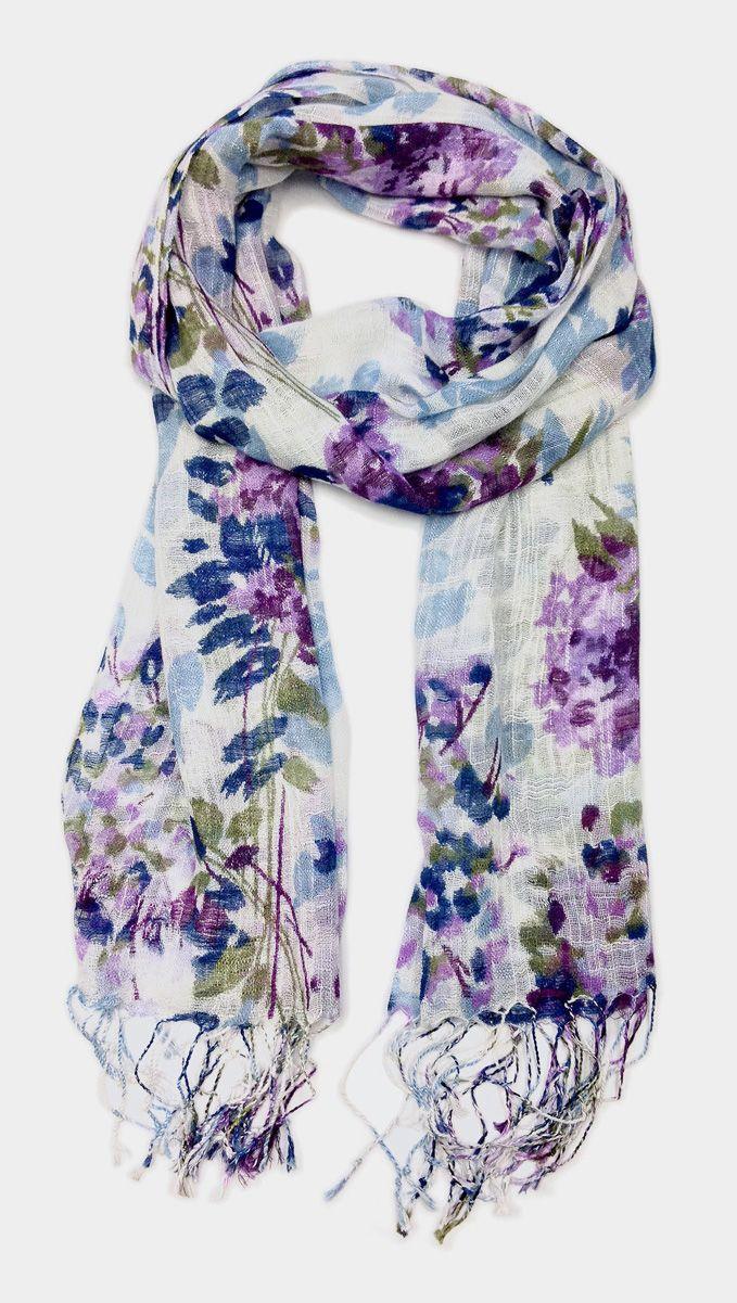 Blue & Lavender Floral Tassel Scarf
