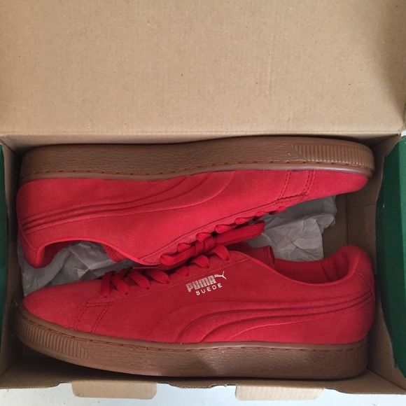 Brand  Red Suede Puma Shoes Brand New. Men's size 7.5, so about an 8.5 in Women's size. Red suede and brown sole. Never worn or taken out the box. Just sitting here waiting on someone to care for them  Puma Shoes Sneakers
