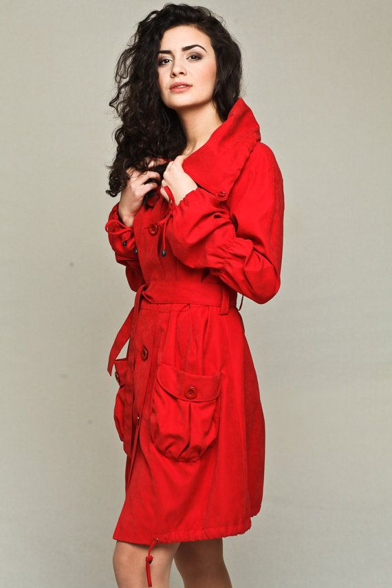 Contemporary red trench coat / red raincoat / red by VIEMAstore