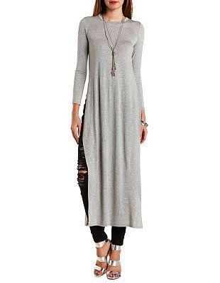 Long Sleeve Side Slit Maxi Tee: Charlotte Russe