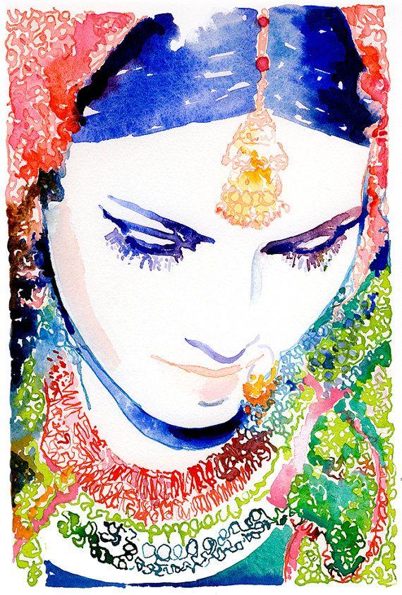 Indische Braut Print indische Mode von silverridgestudio auf Etsy