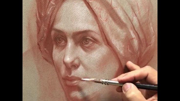 Frau in einer Kopfbedeckung – Conte auf Canson Mi-Tientes Papier. – Youtube