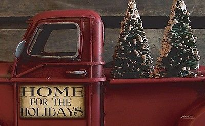 New Primitive Country Christmas VINTAGE RED TRUCK TREE HOME Floor Mat Rug USA  | eBay