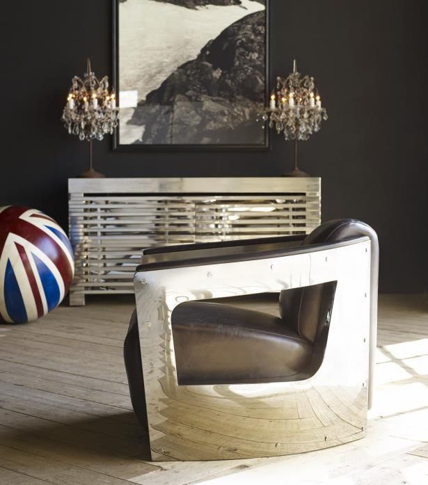 One of Timothy Oulton's most celebrated designs, the Mars chair transports elements of Art Deco to the future of furniture design. Retaining a 1930s proportion, the chair is updated through its unlikely combination of hand-moulded metal with distressed vintage leathers while the chair's curved, bevelled lines catapult the piece to the frontiers of design. #Timothyoulton #industrialluxe #industrialinteriors #dawsonandco