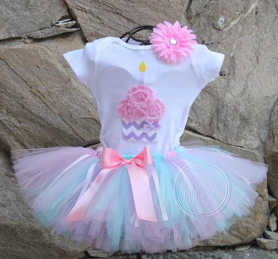 SWEET SURPRISE SET--Birthday Girl Tutu Skirt and Cupcake Bodysuit Set with Free Flower Clip, Newborn,1st, 2nd, 3rd, 4th, 5th Birthday on Etsy, $52.00