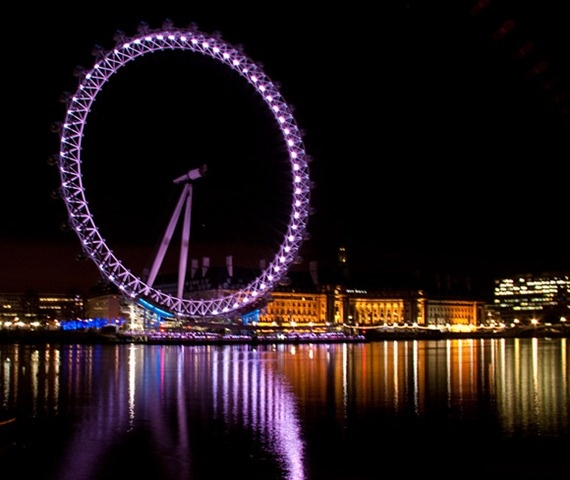 The London Eye by night - the glamorous finale to the book where, during a charity gala, Blake and Ava declare their love!