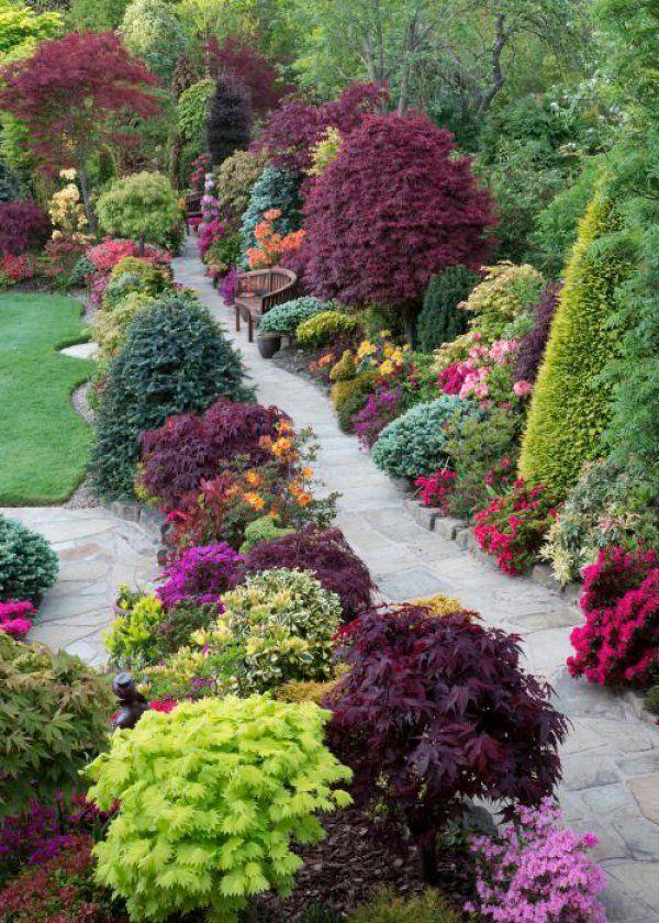 Une allée de jardin à l'anglaise avec plantes en couleurs / English garden path, coloured plants - Marie Claire Maison
