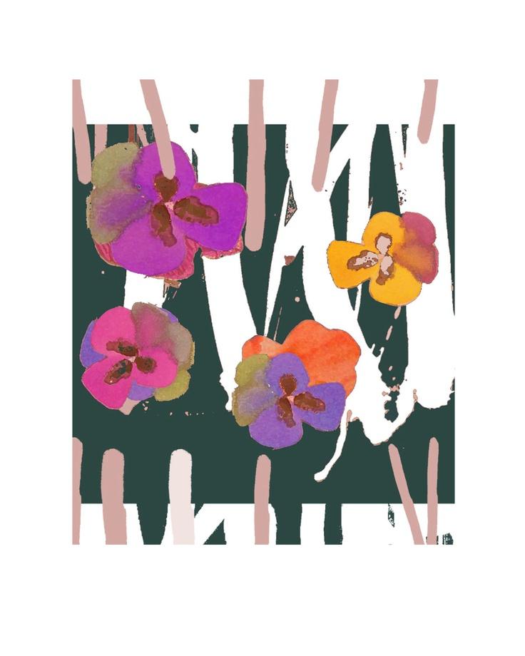 Magenta Home Decoration: Retro Flowers Giclee Violas Purple Magenta Black Fresh